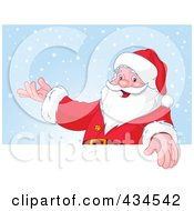 Royalty Free RF Clipart Illustration Of Santa Presenting With One Hand Over A Blank Sign Against Snow