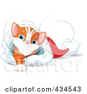 Royalty Free RF Clipart Illustration Of A Cute Orange Kitten Reaching A Paw And Resting In A Christmas Stocking