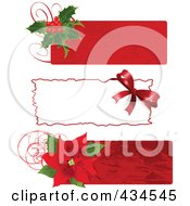 Royalty Free RF Clipart Illustration Of A Digital Collage Of Three Christmas Holly Bow And Poinsettia Labels