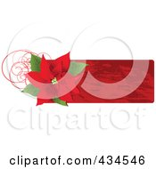Royalty Free RF Clipart Illustration Of A Red Christmas Poinsettia Label