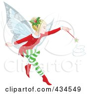 Royalty Free RF Clipart Illustration Of A Christmas Fairy Whirling Her Magic Wand