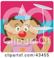 Clipart Illustration Of A Latin American Girl Clown Doing A Balancing Act