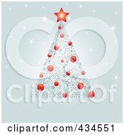 Royalty Free RF Clipart Illustration Of A Christmas Tree Of Red Baubles And Swirl Designs And A Red Star Over Sparkly Gray
