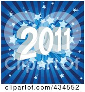 Royalty Free RF Clipart Illustration Of A Blue Starry New Year Burst