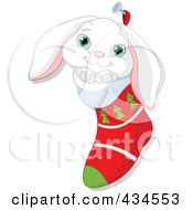 Royalty Free RF Clipart Illustration Of A Cute White Rabbit In A Christmas Stocking