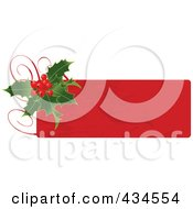 Royalty Free RF Clipart Illustration Of A Red Christmas Holly Label by Pushkin