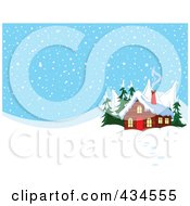 Royalty Free RF Clipart Illustration Of Smoke Rising From A Winter Cabins Chimney Against A Snowy Background by Pushkin
