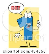 Royalty Free RF Clipart Illustration Of A Number One Character With A Word Balloon Over Yellow by Hit Toon