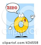 Royalty Free RF Clipart Illustration Of A Number Zero Character With A Word Balloon Over Blue