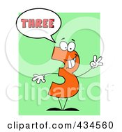 Royalty Free RF Clipart Illustration Of A Number Three Character With A Word Balloon Over Green