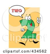 Royalty Free RF Clipart Illustration Of A Number Two Character With A Word Balloon Over Orange by Hit Toon