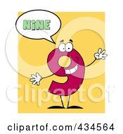 Royalty Free RF Clipart Illustration Of A Number Nine Character With A Word Balloon Over Yellow by Hit Toon