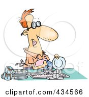 Royalty Free RF Clipart Illustration Of A Stay At Home Dad Washing The Dirty Dishes by Ron Leishman