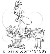 Royalty Free RF Clipart Illustration Of A Line Art Design Of A Man Washing His Hands With Soap And A Wash Cloth