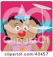 Clipart Illustration Of A Hispanic Girl Clown Doing A Balancing Act