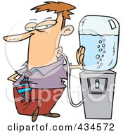 Royalty Free RF Clipart Illustration Of A Businessman Sucking Water From A Water Cooler With A Tube by toonaday