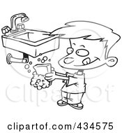 Royalty Free RF Clipart Illustration Of A Line Art Design Of A Boy Washing His Hands With Soap