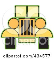 Royalty Free RF Clipart Illustration Of A Yellow Jeep by Lal Perera