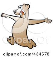 Royalty Free RF Clipart Illustration Of A Running Bear 3 by Lal Perera