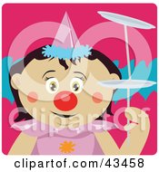 Clipart Illustration Of A Mexican Girl Clown Doing A Balancing Act