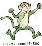 Royalty Free RF Clipart Illustration Of A Green Monkey by Lal Perera