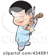 Royalty Free RF Clipart Illustration Of A Happy Boy Playing A Violin by Lal Perera