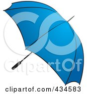 Royalty Free RF Clipart Illustration Of A Blue Umbrella