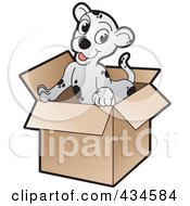 Royalty Free RF Clipart Illustration Of A Cute Puppy In A Cardboard Box by Lal Perera