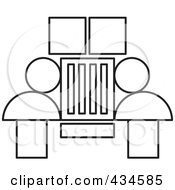 Royalty Free RF Clipart Illustration Of An Outlined Jeep by Lal Perera