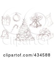 Royalty Free RF Clipart Illustration Of A Digital Collage Of Sketched Christmas Doodles by yayayoyo