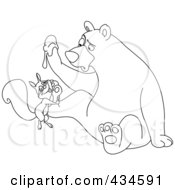 Royalty Free RF Clipart Illustration Of An Outline Of A Squirrel Hugging A Bears Foot by yayayoyo