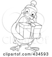 Royalty Free RF Clipart Illustration Of An Outline Of A Christmas Penguin Giving A Present by yayayoyo