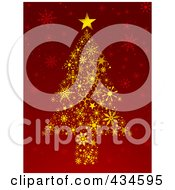 Royalty Free RF Clipart Illustration Of A Gold Snowflake Christmas Tree On Red