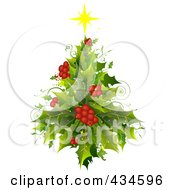 Royalty Free RF Clipart Illustration Of A Holly Christmas Tree by BNP Design Studio