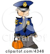 Boy Wearing A Police Officer Costume On Halloween Clipart