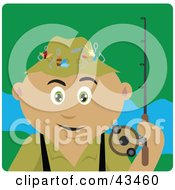 Clipart Illustration Of A Latin American Man Fishing And Holding His Pole by Dennis Holmes Designs