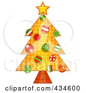 Royalty Free RF Clipart Illustration Of A Grid Christmas Tree With Buttons