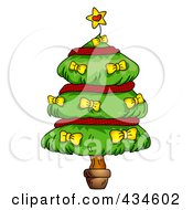 Royalty Free RF Clipart Illustration Of A Plump Christmas Tree With Red Garland And Yellow Bows
