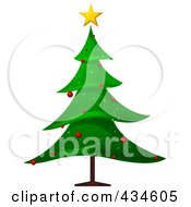 Royalty Free RF Clipart Illustration Of A Christmas Tree With Red Ornaments