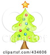Royalty Free RF Clipart Illustration Of A Swirly Christmas Tree by BNP Design Studio