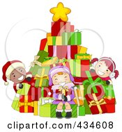 Royalty Free RF Clipart Illustration Of Diverse Christmas Kids With A Gift Christmas Tree