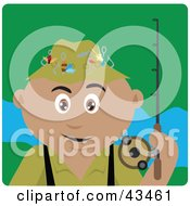 Clipart Illustration Of A Hispanic Man Fishing And Holding His Pole by Dennis Holmes Designs