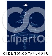 Royalty Free RF Clipart Illustration Of A Scribble Star Christmas Tree On Blue