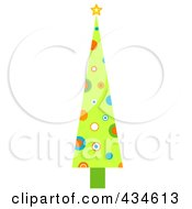 Royalty Free RF Clipart Illustration Of A Tall Retro Christmas Tree With Circles by BNP Design Studio