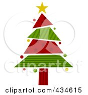 Royalty Free RF Clipart Illustration Of A Red And Green Wrapping Paper Christmas Tree