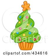Royalty Free RF Clipart Illustration Of A Cupcake Christmas Tree by BNP Design Studio