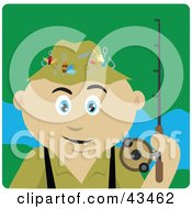 Clipart Illustration Of A Mexican Man Fishing And Holding His Pole by Dennis Holmes Designs