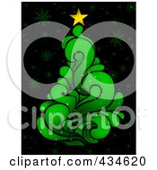 Royalty Free RF Clipart Illustration Of A Green Splash Christmas Tree On Black With Snowflakes