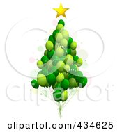 Royalty Free RF Clipart Illustration Of A Green Balloon Christmas Tree by BNP Design Studio
