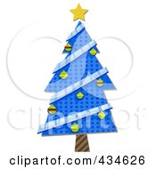 Royalty Free RF Clipart Illustration Of A Blue Wrapping Paper Christmas Tree